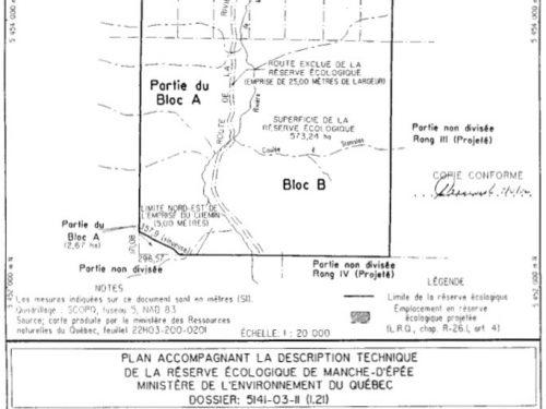 Plan de la réserve écologique, date : 2002, source : Gouvernement du Québec