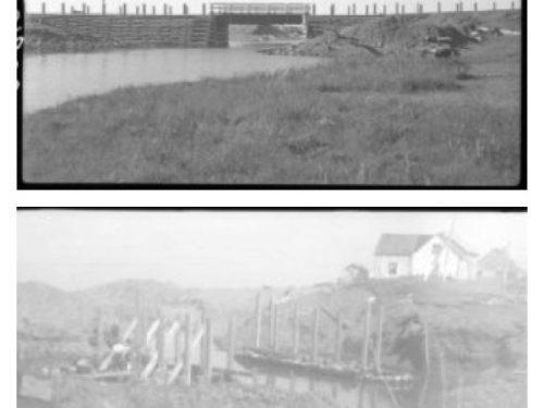 Pont de la Rivière-de-Manche-d'Épée, en haut : date : 1943, photo : Raymond Marchand; en bas : en construction, date : 1943, photo : Philippe-Auguste Dupuis, coll. : BAnQ