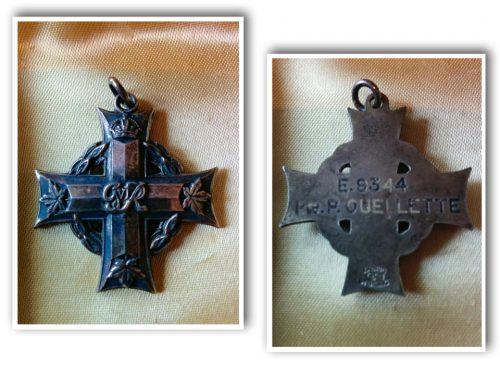 La « croix du souvenir », médaille remise à madame Émilia Fournier, en sa qualité de mère d'un soldat (Paul Ouellette) mort au combat, coll. : Salomée Ouellette