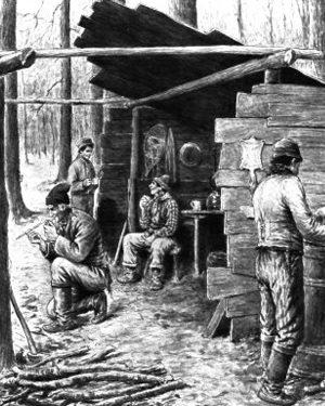 Des campements rudimentaires à trois côtés, date non précisée, source : Raoul Carrier, Érablière du Lac-Beauport.