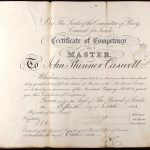 Certificat de capitaine de John Skinner Caswell obtenu le 15 octobre 1863, source : UK National Maritime Museum sur ancestry.co.uk, collaboration Dave Wendes.