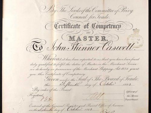 Certificat de capitaine de John Skinner Caswell obtenu le 15 octobre 1863, source : UK National Maritime Museum sur ancestry.co.uk, collaboration Dave Wendes.
