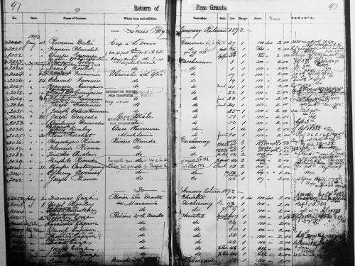 Les deux volets de la page 97 du registre « Return of free grants » ou « Octroi gratuit Chemin» tenu par Louis Roy; source : BAnQ, Québec.