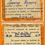 Carte d'identité professionnelle, date : 1958, coll. : Lauraine Bernier