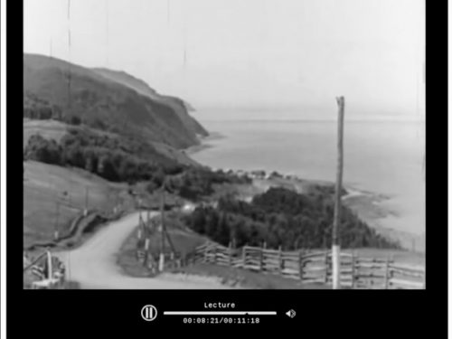Wonderland of the Gaspé, capture d'écran (voir le lien dans le texte d'accompagnement), date : 1940, l'éclair au milieu de la photo est attribuable au reflet du soleil dans un pare-brise.