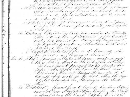 Inscription du naufrage du Woodstock dans le registre de la Lloyd's le 13 décembre 1867, source : Fonds du port de Québec, 1826-1922, BAnQ-Québec