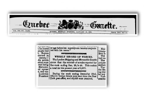 Quebec Gazette, lundi 13 janvier 1868, source : news.google.com
