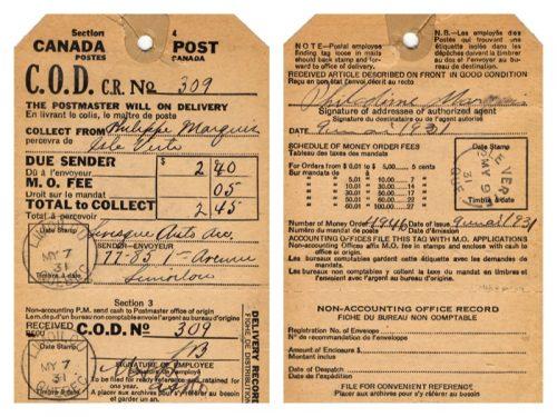 Étiquette (recto-verso) d'un envoi contre remboursement du ministère des Postes, 1931, Musée canadien de la poste 2000-P0011
