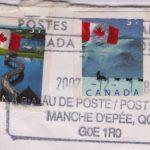 Cachet de la poste; coll.: Marie Fournier