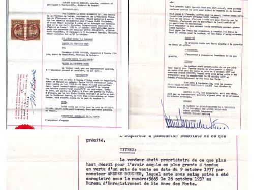 Contrat de rachat du terrain de la neigère par Amédée Boucher. Le paragraphe «Titres»mentionne la vente en 1937. Archive propriété de Marguerite Boucher