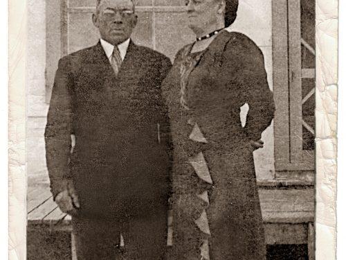 Mathias Côté et Angéline Thibeault, date :1950, coll.: Gilles Caron, infographie Langis Clavet