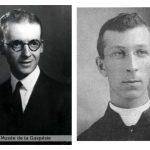 Esdras Minville, collection du Centre d'archives de la Gaspésie. P57/73.9.3 et le curé Alexis Bujold, source A.C. Morin, dans Magazine Gaspésie, automne 2012.