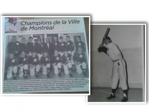 Guy et son équipe de baseball comprenant Michel Bergeron remportent le Championnat de la ville de Montréal, date:1959, coll.: Guy Boucher