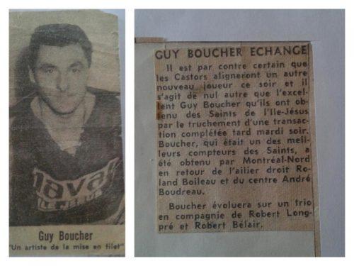 Guy Boucher échangé aux Castors de Rosemont, date: 1962-63, coll.: Guy Boucher