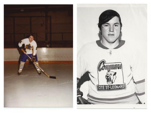 Guy Blanchette, à 16 ans, joue avec les Cougars de Saint-Léonard, junior B, date: 1970-71, coll.: Guy Blanchette