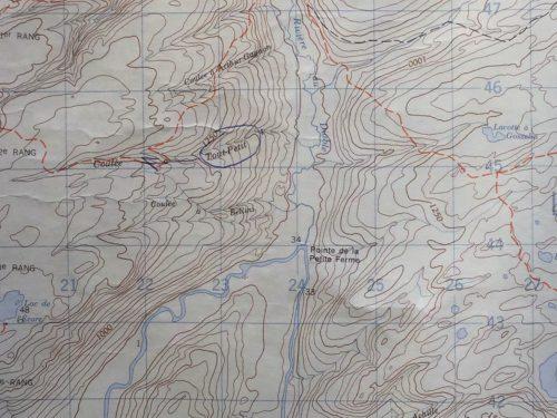 Détail de la carte intitulée Grande-Vallée publiée par le ministère fédéral de l'Énergie, des Mines et des Ressouces, 1980. Cette carte m'a été confiée par Mme Rita Blanchette que je remercie infiniment.