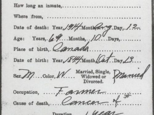Certificat de décès de Eugène Boucher, source : New Hampshire, death and disiterment records, coll. : Ginette Benoit