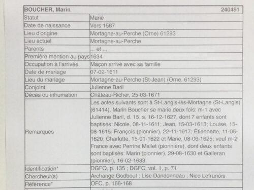Fichier origine de Marin Boucher, source : Fédération québécoise des sociétés de généalogie