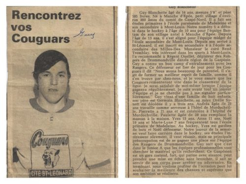 Article sur Guy Blanchette dans un journal de Saint-Léonard, date: 1970, coll.: Guy Blanchette