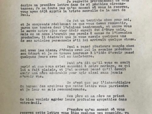 Lettre du 26 juillet 1944 de Bertha Mills adressée à Émilia Fournier après la mort de Paul lui offrant ses condoléances, dossier militaire de Paul Ouellette, source : www.ancestry.ca