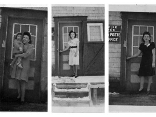 Lucille Pelchat, 11e maitre de poste, date des photos : entre 1945 et 1950, fonds Lucille Pelchat, coll.: à g. Hélène Fournier, au centre et à d. Marie Fournier
