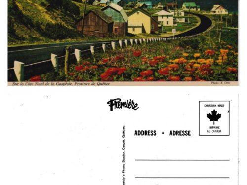 Manche-d'Épée : le nom est absent, mais il est écrit « un village modèle de la Gaspésie », coll. : Bernard Boucher