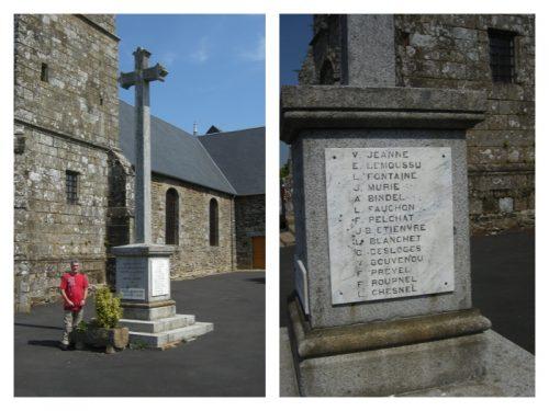 Le monument aux morts, village de Les Biards que j'ai visité en août 2016: à droite, le nom Pelchat apparait parmi ceux des disparus, photo, Magali Euzenot-Boucher, date 17 août 2016