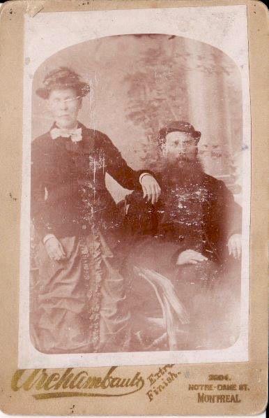 Desneiges Pelchat et William-Guillaume Davis, vers 1881-85, studio Archambault, Montréal, coll: Denis Pelchat