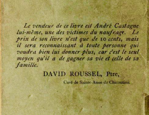 Quatrième de couverture du livre qui est un appel à soutenir Castagne signé par l'abbé Roussel devenu curé de Ste-Anne de Chicoutimi
