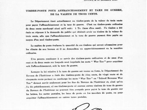 Circulaire adressée aux maitres de poste, 1915, Bibliothèque et archives Canada