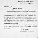 Mémo aux maitres de poste, 28 août 1916, Bibliothèque et archives Canada